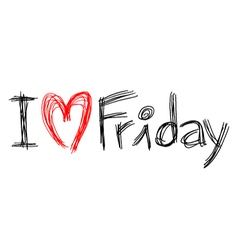 I love Friday symbol vector image