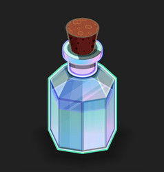 isolated bright blue magic bottle with potion vector image