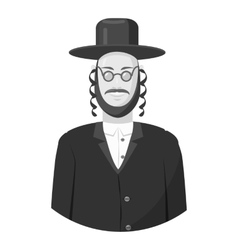 Jew man icon gray monochrome style vector