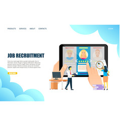 job recruitment website landing page design vector image