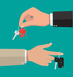 Key with keychain house and car with alarm vector