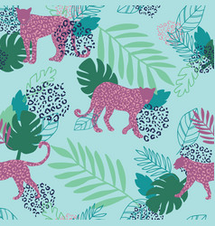 leopard print pattern purple and green vector image