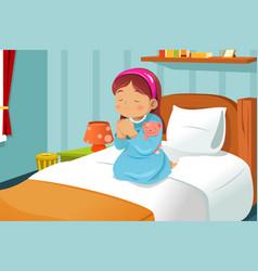 Little girl praying vector
