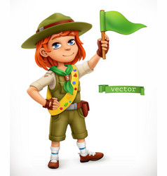 little scout with green flag comic character 3d vector image
