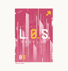 los angeles t-shirt abstract geometric futuristic vector image
