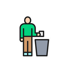 Man throwing out garbage trash flat color line vector
