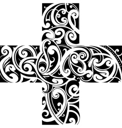 Maori styly tattoo cross shape vector image vector image