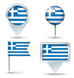 Map pins with flag of Greece vector image