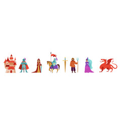 Medieval and fairy tales characters knights vector