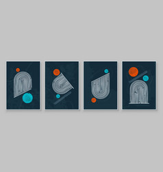 mid-century modern design a trendy set of vector image