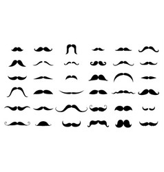 mustache collection black silhouette vector image
