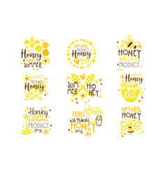Natural honey products 100 percent organic set of vector