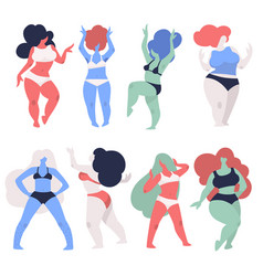 Overweight women in underwear dancing plus size vector