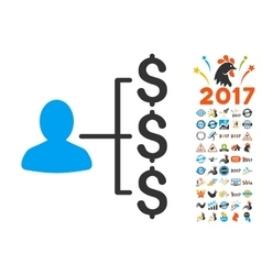 Payer Relations Icon With 2017 Year Bonus vector image