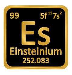periodic table element einsteinium icon vector image