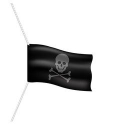 pirate flag with skull symbol on white rope vector image