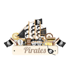 pirate wood board with pirate ship vector image