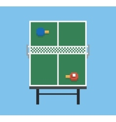 Pixel art style ping pong and rackets sport table vector