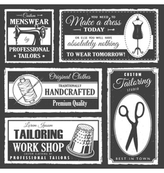 Professional tailor labels set vector image