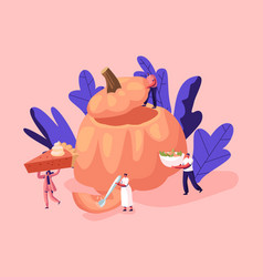 Pumpkin dishes concept with tiny male and female vector