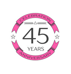 Realistic forty five years anniversary celebration vector