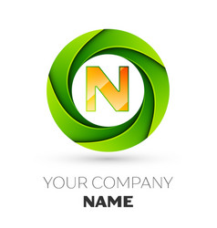 Realistic letter n logo in the colorful circle vector