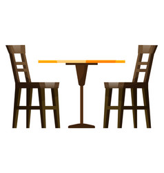 restaurant furniture wooden table and chair vector image