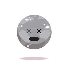 sad earth character unhappy cartoon mascot globe vector image