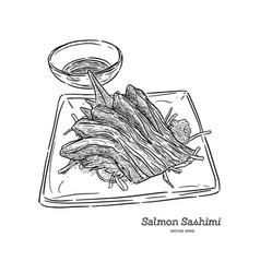 salmon sashimi hand draw sketch vector image