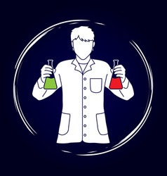 scientist with flask chemical graphic vector image