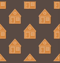seamless pattern with gingerbread house vector image