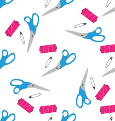 Seamless pattern with scissors pin needle vector