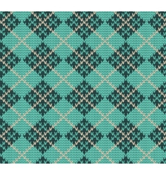 Seamless Rhombus Blue Color Knitted Pattern vector