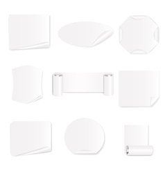 set 9 white paper stickers vector image