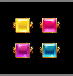 set colorful square buttons with golden border vector image
