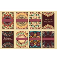Set invitations cards with ethnic henna vector