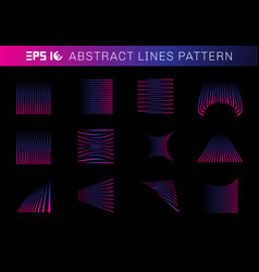 set of abstract lines pattern elements blue vector image