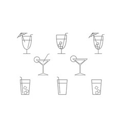 set of cocktail drink icons vector image