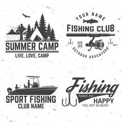 set of fishing sport club bages vector image
