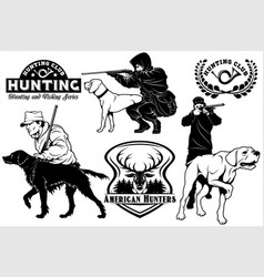set of hunting club labels pointer dog emblems vector image