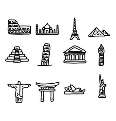 set of travel landmarks around the world icon set vector image
