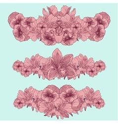 Set of vintage flowers compositions on teal backgr vector