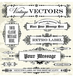 Set of vintage frames and backgrounds vector