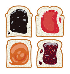 Set of white toast bread slices vector