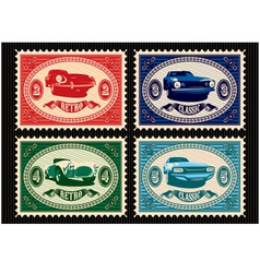 set postage stamps with cars vector image