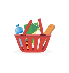 Shopping Cart with Food Design Flat vector