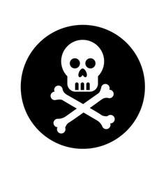 skull danger signal icon vector image vector image
