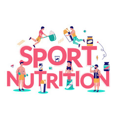 sports nutrition typography banner template vector image
