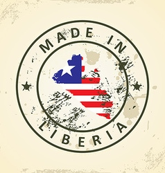 Stamp with map flag of Liberia vector