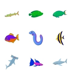 Tropical fish icons set cartoon style vector